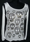 Love The Classic Skull Foil Mesh Lightweight Top Punk Summer Long Sleeve Retro