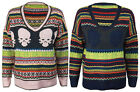 New Womens Knitted Stripe Skull Tops Ladies Long Sleeve Jumper Top One Size 8-14