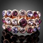 Amethyst Swarovski Mix Crystal Elements Rose Gold Gp Finger Ring Fashion Jewelry