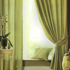 Silk Sheen Green Eyelet Lined Curtains With Tiebacks Catherine Lansfield