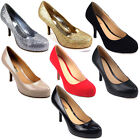 LADIES WOMENS MID LOW HEEL COURT WORK PARTY SHOE BLACK NUDE RED GOLD SILVER