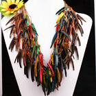 Handmade Mixed Coconut Shell Stick Beads 3-Row Necklace 11 Colors 12 Options