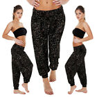 NEW Womens Ladies ALI BABA Harem Black Print Trouser Legging Size 8-14 S M L XL