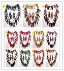 Mixed Coconut Shell Stick Beads 3-Row Necklace Bracelet Earrings Set 12 Options