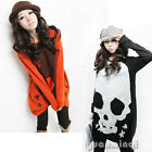 Womens Long Sleeve Crew Neck Casual Skull Print Loose Knitwear Knit Tops T-Shirt