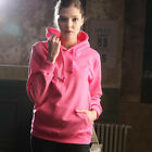 ililily New Womens Double-layer Cotton Hooded Sweatshirt Solid Color Hoodie 010