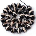 8,10,12,14mm Round Faceted Black&White Agate Gemstone Beads Spacer Strand 15""
