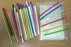 50 x 89mm  MIXED COLOUR PLASTIC LOLLIPOP STICKS CAKE POP KIT BAGS & TWISTTIES