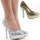 Ladies Party Platform High Heels Bridal Court Wedding Evening Shoes Pumps Size