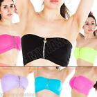 Womens Ladies Sports Bras Zip Crop Top Vest BoobTube Bra Bandeau Size S/M/L/XL