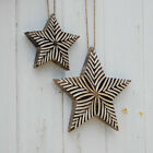 Fair Trade Hand Carved Antique White Star, Distressed, Rustic, Shabby Chic Look