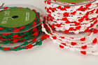 1 MTR MAY ARTS WIRED POM POM TRIM/RIBBON - Red/White or Green/Red