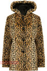 U65 NEW WOMENS LADIES ANIMAL PRINT FAUX FUR HOODED JACKET HOODY COAT IN 08-16.