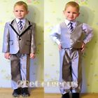 5pc Set Formal Suits Outfits Christening Wedding Boys Silver Grey Sz 1-6y ST021A