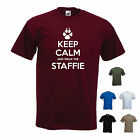 'Keep Calm and Walk the Staffie' Mens Pet Dog Staffordshire Bull Terrier T-shirt