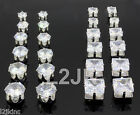2 PAIR CZ CLEAR SQUARE/ROUND MAGNETIC EARRINGS STUD