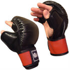 OPEN-PALM BAG TRAINING GLOVES - BLACK/RED Meister MMA Boxing Leather ALL SIZES