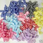 25 gingham bows 30mm x 25mm red blue pink lilac