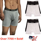 Внешний вид - 6 Mens Boxer Briefs 100% Cotton Black Gray White Underwear Pair Lot S M L XL XXL