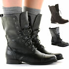 Ladies Womens Worker Army Flat Lace Biker Style Military Shoes Ankle Boots Size