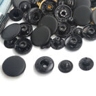 10/12.5/15/17mm Black Snap Fasteners Press Studs Poppers Sewing Leather Buttons