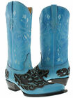 womens blue black engraved floral western leather cowboy cowgorl boots rodeo new