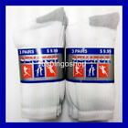 Lot of 3 or 6 Pairs New Cotton Womens Athletic Sports Crew Socks 9-11 White&Gray