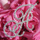 Silver Crystal Wedding Initial Bouquet Jewelry Monogram Letter