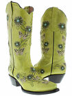 Womens cowboy boots ladies gringo love butterfly flower rhinestone old lime snip