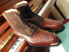 Vass Hand Made Shoes - Budapest Oxford High Boots - K Last in Dark Cognac/Suede