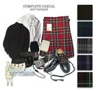 SCOTTISH 9-PC COMPLETE CASUAL KILT OUTFIT PACKAGE - CHOICE OF SIZES & TARTANS!