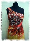 Kleid Maxikleid Empire One Shoulder Gelb Orange  Gr. S M  L  36/38  38/40  40/42