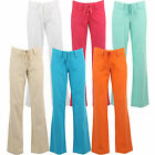 New Ladies Combat Linen Trousers Cotton Pants Wide Flare Loose Fit Womens Size
