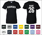 State of Kansas Custom Personalized Name & Number Woman's T-shirt