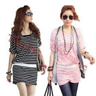 2  Colour Korean Women stripe loose casual short-sleeved dress