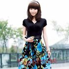 Flowers Korean version of the V-neck Slim short-sleeved ladies elastic dress