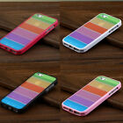 fashion Rainbow Stripe Frame Silicone Case Skin Cover For iPhone 5 5G+ LCD Film