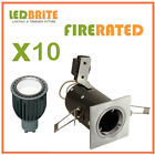 10 x SQUARE FIRE RATED LED DOWNLIGHTS 240V MAINS GU10 FIXED 4W - 7W DIMMABLE
