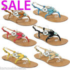 NEW WOMENS LADIES FLAT LOW HEEL TOE-POST SUMMER SANDALS SHOES SIZE 3 - 8 (6047)
