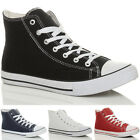 MENS FLAT HI HIGH TOP ANKLE BOOTS CANVAS FLAT LACE UP TRAINERS SHOES SIZE