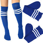 Free Size New 6COLORS SPORTS ATHLETIC SCHOOL TUBE STRIPED KNEE HIGH SOCKS SOCCER