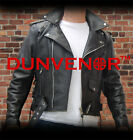 MENS RETRO REAL LEATHER BRANDO/TERMINATOR STYLE BIKER JACKET - sizes 38-56 BLACK