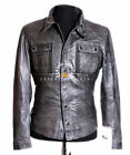 Daniel Stone Wash Grey Men's Smart Casual Real Waxed Leather Shirt Style Jacket