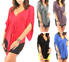 New Womens Ladies Sexy Batwing V-Neck Tunic Vest Tops Dresses UK Size 8-22 ~1014