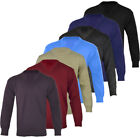 Mens Plain Casual Long Sleeve V - Neck Jumper Top Pullover Golf