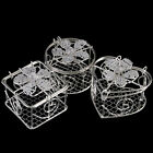 1 Mini WIRE TRINKET BOX - - -wedding gift favours pots tone silver metal colour