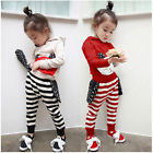 New Stylish Kid Baby Girl  shirt+stripes pants track Suit A22166