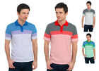 Mens/Gentlemens Fine Multi Stripe Polo Shirt With Top Button Opening