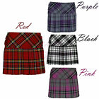 Ladies Womens Tartan All Round Pleated 4 Cover Button Kilt Mini Skirts