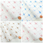"FAT QUARTERS  BABY BEAR & hearts pink blue or beige 18 x22 "" 45 x 55 cm"